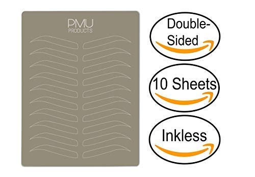 PMU Premium Microblading Practice Skin Double-Sided | Professional Realistic Hairstroke Tattoo Latex | Special Eyebrow Designs For Cosmetic Tattooing (White - 10)