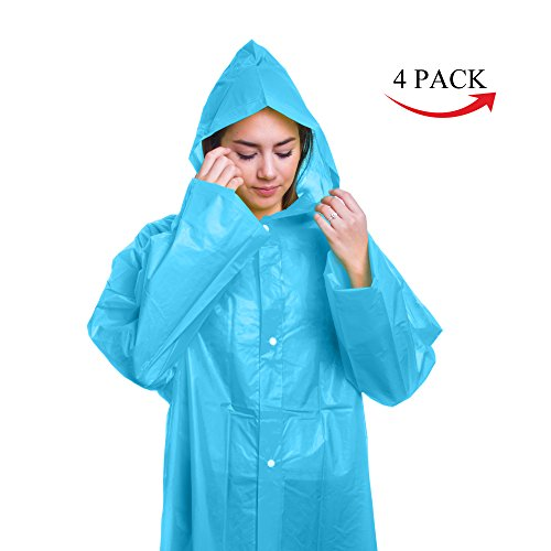 Emergency Reusable Rain Poncho with Hood, Sleeves and Button Closure - One Size Fits Most - Perfect for All Outdoor Activities, Hiking, Camping, Travel, Hunting - 100% Waterproof (Blue, 4 Pack)