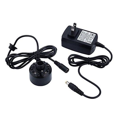 Elandy 12 LED Lights Assort Color Ultrasonic Mist Maker Fogger Water Fountain Pond+power Adapter(110v-240v) by Elandy
