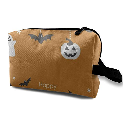 Makeup Bag Halloween Night Ghost Bat House Orange Portable Travel Multifunction Cosmetic Bags Amazing Holder for Girls]()