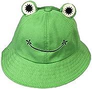 MOuchver Frog Cap Bucket Hat Beach Sun Hat Foldable Cotton Fisherman Outdoor Cap Bucket Sun Hat
