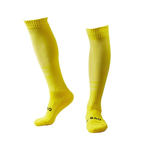 Men's Sports Athletic Compression Football Soccer Socks Over Knee High Socks (Yellow) (Soccer Socks Yellow)