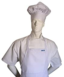 Chefskin Chef White Adult Chef Set (Apron+hat) Adjustable, Ultra Lite Fabric
