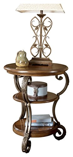 Ashley Furniture Signature Design - Nestor Chair Side End Table - Medium Brown Antique Brown Metal Finish