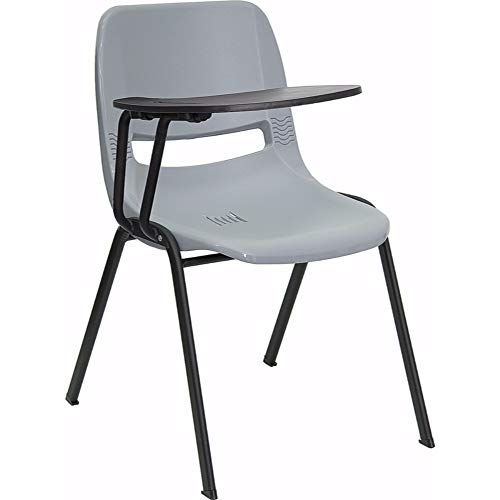 Offex Ergonomic Shell Chair with Right Handed Flip-up Tablet Arm - Gray