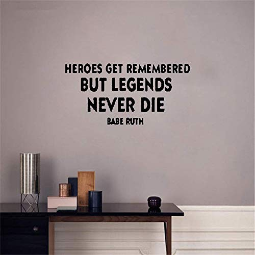 jaduen Wall Decal Sticker Art Mural Home Decor Heroes Get Remembered But Legends Never Die -Babe Ruth Vinyl Wall Decals Quotes Sayings Words Art Deco Lettering Inspirational (Heroes Get Remembered But Legends Never Die)