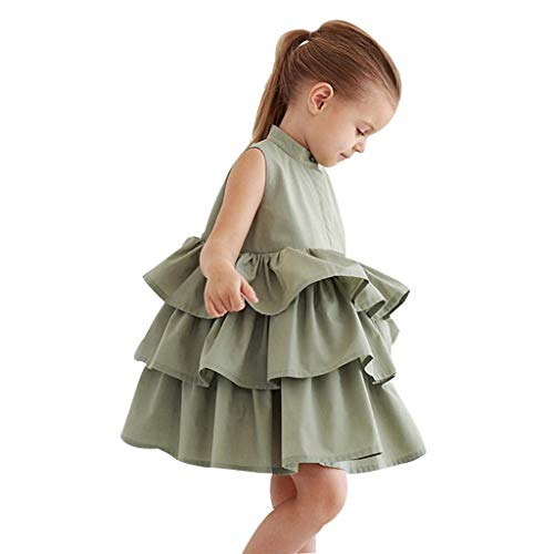 Sunbona  Toddler Baby Girls Tutu Skirts Dress Kids Summer Party Dress Sleeveless Cake Ruffled Bubble Party Wedding Dresses ()