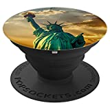 Statue Of Liberty USA Patriot Eagle Nation Vet Military Flag - PopSockets Grip and Stand for Phones and Tablets