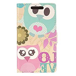 QYF Love Owl PU Leather Wallet with Stand Full Body Case Cover for Samsung Galaxy S4 i9500