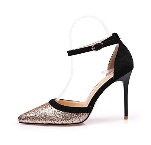 Verano al Sandalias de Fiesta Club de Sexy Libre Mujer ZXMXY de Primavera de Zapatos Zapatos Aire Puntas Metal de los Lentejuelas Simple de Zapatos Oro y de de Altos Tacones xnw1Z14F