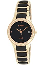 Roberto Bianci Women's Bella Ceramic Watch with Zirconia Studded Bezel-B295BLK-Blk