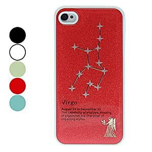 Frosted Virgo Constellation Pattern Hard Case for iPhone 4/4S (Assorted Colors) , Black