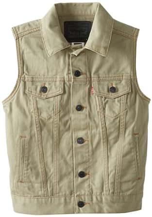 Levi's Big Boys' Trucker Vest Khaki Colored Denim, Silt, X-Large