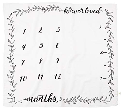 Organic Milestone Blanket – Baby Monthly Photography Background Prop for Boy or Girl – Newborn to 12 Months – Baby Shower Gift by Pondering Pine