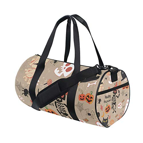 Russe Gym Bag Happy Halloween Clip Art Cartoon Set Vector Image with Shoes Compartment Waterproof Travel Duffel Bag for Women and Men ()
