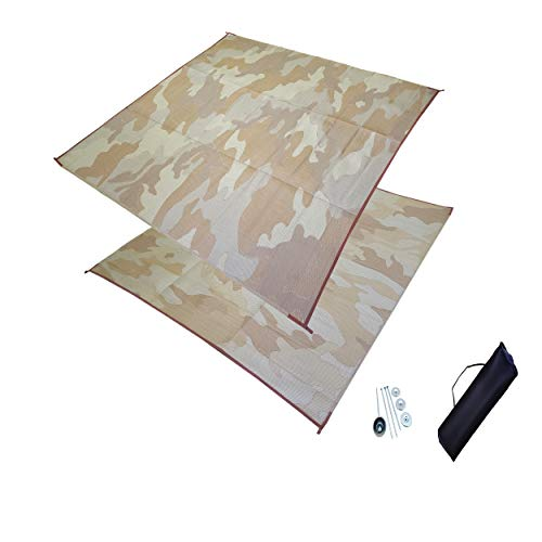 DAY STAR SHADES 10' x 10' Outdoor RV Patio Mat Combo Set with Stakes and Carry Bag (Desert - 10' Rugs Star