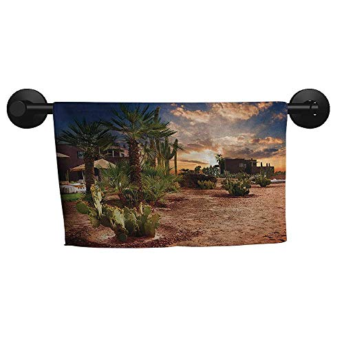 Desert,Wash Towels Majestic Sky View Palm Trees and Cactus in Oasis Morocco Tropic Nature Eco-Friendly W 20