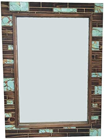 HiEnd Accents Southwestern Rustic Faux Turquoise Inlay Wooden Mirror, 29.6 x 21.7