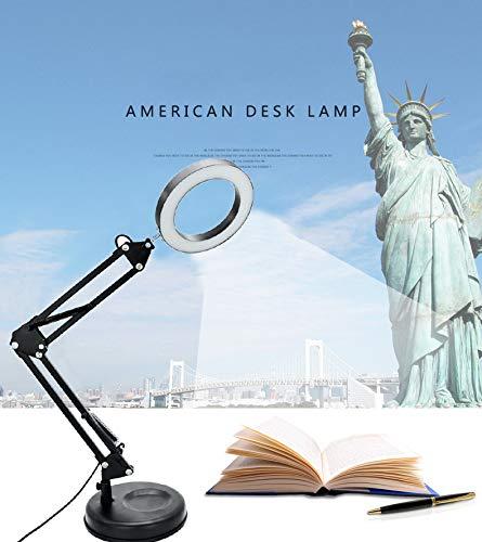 DLLT Flexible Arm Desk Lamp, Dimmable LED Work Desk Lamps, Clamp-on Desk Light,Eye-Care Soft Light, Reading Lamp, Bedroom Lamps, Multi-Joint Adjustable Arm Desk lamp, Black Painted with Metal Clamp