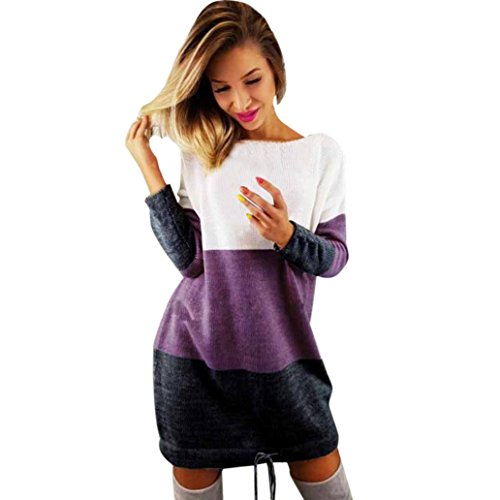 Mr.Macy Women's Large-Size Long Sleeve Spell Color Combed Round Neck Knit Dress Knit Party Ladies Casual Dress Long Sleeve Dress (XL, - Long Beach In Macy's