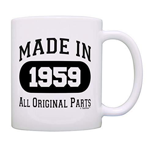 (60th Birthday Gift Made 1959 60th Birthday Party Decorations Gift Coffee Mug Tea Cup White)