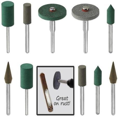 18pc Diamond-in-Rubber Emery Polishing Bit Set
