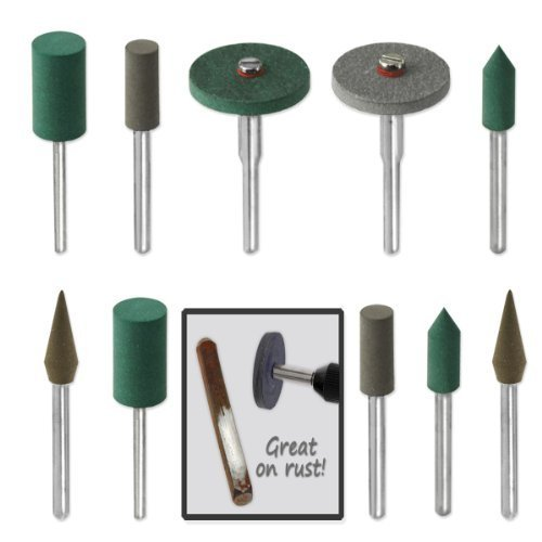 18pc Diamond-in-Rubber Emery Polishing Bit Set - Fits Dremel - Metal, Glass, Stone, Tile