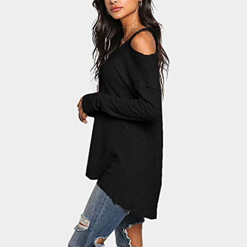 Shirt Blouse paule Col Manches Sexy Tops T Longues Femme Bringbring V Noir Froide EwW1vq