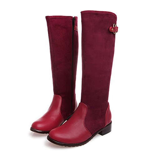 AllhqFashion Womens High-Top Zipper Soft Material Low-Heels Round Closed Toe Boots Red NlBFnRpc
