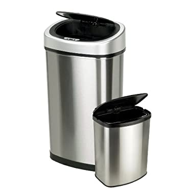 Nine Stars 13.2 & 2.1-Gallon Touchless Automatic Motion Sensor Trash Can, Set of 2