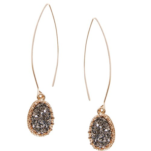 - Humble Chic Simulated Druzy Needle Drops - Gold-Tone Threader Upside-Down Hoop Dangle Earrings for Women, Simulated Hematite, Grey, Metallic, Silver-Tone, Gold-Tone