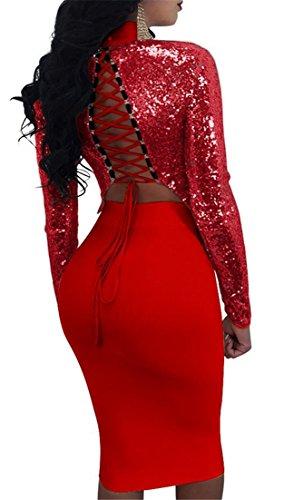 Le Sequin À Manches Longues Des Femmes Cromoncent Lacer Robe Crayon Jupe Supérieure Moulante De Culture Rouge