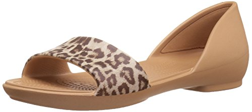 crocs Women Lina Graphic Dorsay Flat Sandal Leopard