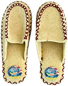 HERBLANDIA All Natural Sheep Wool Felt Home Slippers Loafers Style Mens Sizes Light and Cozy Double Sized 10-11, Navy Thread Hand Made Non Slip Microporous Rubber Sole Outside