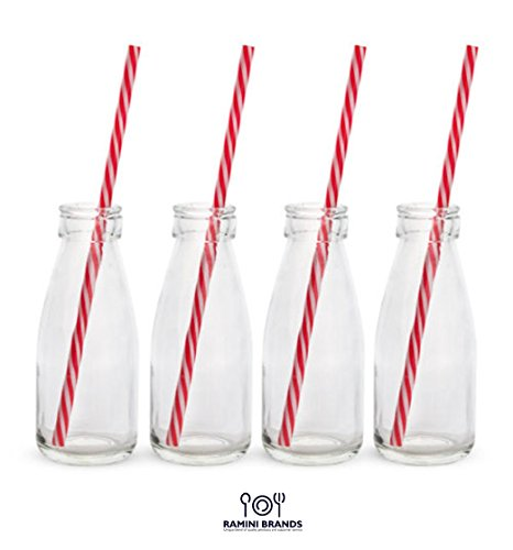 Vintage Style Milk Bottles With Straws - Bonus Flavored Milk Recipes - Serve Shakes Smoothies Juice the Old Fashioned Way- Novelty Gift Boxed Set of 4 - 10 oz.