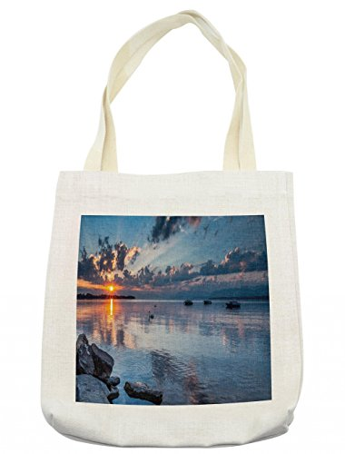 Lunarable Landscape Tote Bag, Sun Rising at Lake Geneva Switzerland Seascape Cloudy Sky Scenic View Photo, Cloth Linen Reusable Bag for Shopping Groceries Books Beach Travel & More, ()