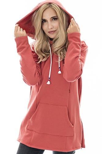 74218b8670bc9 Bearsland Women's Maternity Sweater Clothes Nursing Sweatshirt  Breastfeeding Hoodie with Pockets,rustyred,M