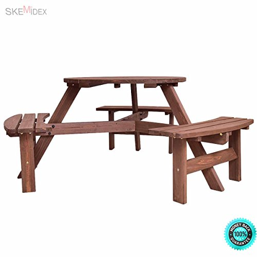 SKEMiDEX--- 6 Person Outdoor Wood Picnic Table Beer Bench Set Pub Dining Seat Garden It is a hassle-free gorgeous furniture and will add some rustic charm to your (Traditional Picnic Dining Set)
