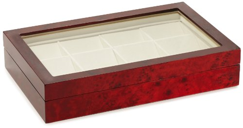Diplomat Burl Wood 12 Pocket Watch Storage Chest with Clear Top ()