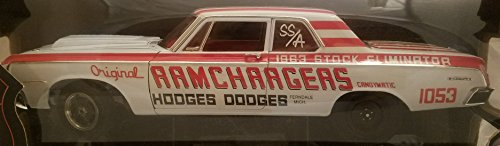 1964 Dodge 330 Superstock Ramchargers Highway 61 Collectibles 1:18 Die-Cast Metal Car White with Red Stripes and Lettering Rounded Plastic Case from Highway 61