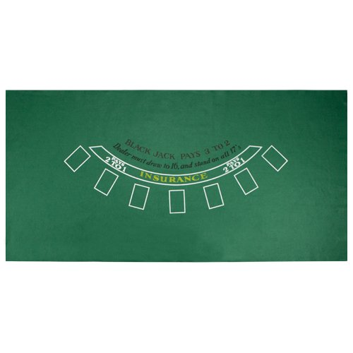 Brybelly Green Blackjack Table Felt - Gaming Table Top for Blackjack - Casino-Style, Spill-Proof Layout Cloth Card Table