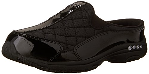 Easy Spirit Women's Traveltime Clog,  Black/Silver Patent, 8 M (Womens Black Patent Clog)