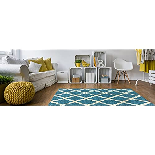 Soft Shag Area Rug 3x5 Moroccan Trellis Turquoise Blue Shaggy Rug    Contemporary Area Rugs For Living Room Bedroom Kitchen Decorative Modern  Shaggy Rugs