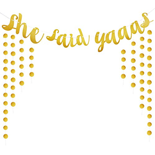 She Said Yaaas Banner Gold Glitter Party Supplies Bachelorette Parties (Bachelorette Party Decoration)
