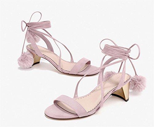 xie Chaussures Femmes Talons Sandales Femmes Talon toe Moyen 39 Rome Robes Chaussures Fête 34 à Talons Sandales pink Bandages Haute Peep De nqICqr