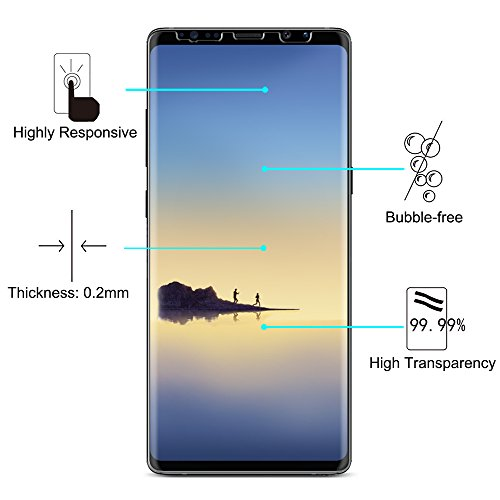 Samsung Galaxy Note 8 Screen Protector [2-Pack] – OMOTON [Cover Curved Edges] [Case Friendly] [High Responsivity] Wet Applied HD Screen Protector for Samsung Galaxy Note8
