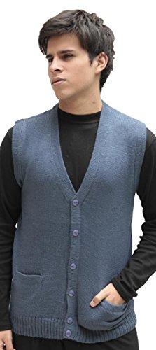 (Men's Soft Alpaca Wool Knitted V Neck Sweater Button Down Golf Vest (XLarge, Steel Blue))
