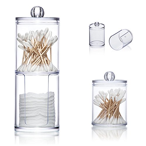- vinmax Cotton Pads Holder Swabs Holder Clear Q-Tips Cotton Pads Double Layer Round Box Bathroom Makeup Containers Organizers-Time Saving