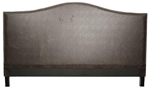 Chloe Queen Bonded Leather Headboard,Vintage Dark Brown,Fully Assembled