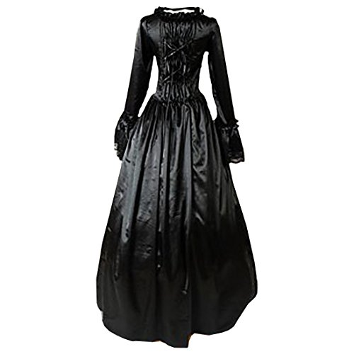 Langarm Vintage Schwarz Bodenlangen Partiss Damen Kleider Ballkleider Gothic Lolita qvwtECz